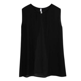 Casual Loose O-Neck Hem Stitching Chiffon Dress(White) (S) - intl
