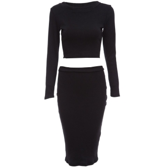 Slim Knitted Sweater + Semi Long Tight Knit Skirt Suit M Black - Intl - intl