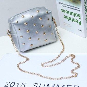 Moonar Mini Handbag Messenger Bag Vintage Rivet Sling Chain Leather Women's Shoulder Bag (Silver) - intl