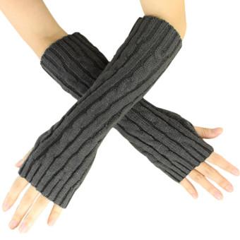 Hemp Flowers Fingerless Knitted Long Gloves Grey (Intl)
