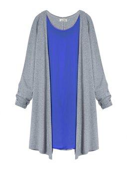 ZANZEA Women Neck Tee Shirt Plus Size Long Chiffon Cotton Tops Scoop Cardigan (Intl)