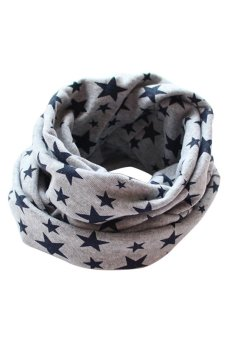 Bluelans Kids Boy Girl Stars Cotton Neckerchief Scarves Shawl Unisex Knitting Grey (Intl)