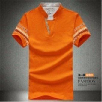 Summer New Men's Short Sleeved Polo Shirt T-shirt Mens Half Sleeve Fertilizer Size (Orange) - intl