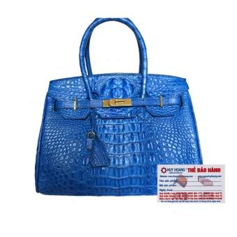 HL6220 - Túi xách nữ da cá sấu Huy Hoàng cao cấp màu xanh dương