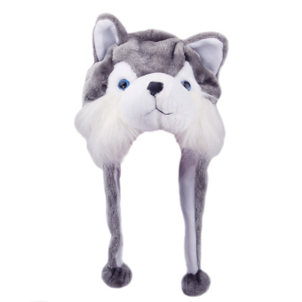 Cartoon Animal Shaped Children Kids Adult Winter Warm Soft Plush Hood Earmuff Scarf Hat Cap Husky (Intl)