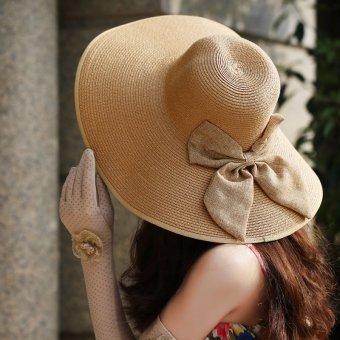 Summer Lady Women Floppy Straw Hat Sun Beach Cap Bow Foldable Wide Brim Boheimia - Intl