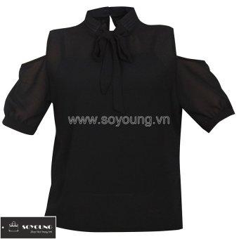 Áo Sơ Mi Khoét Vai Cổ Buộc Nơ Nữ Soyoung WM TOP 048 B