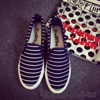 Giày lười nữ màu xanh đen viền trắng GL41