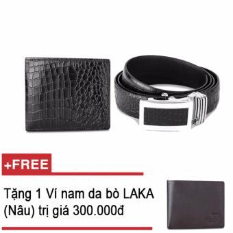 Bộ ví và thắt lưng nam da bò thật LAKA đen cá sấu + Tặng 01 ví nam da bò LAKA (Nâu trơn) trị giá 300.000đ