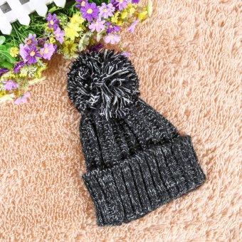 Winter Women Crochet Beret BeanieHat Knitted Wool Ski Crochet Cap Black (Intl)