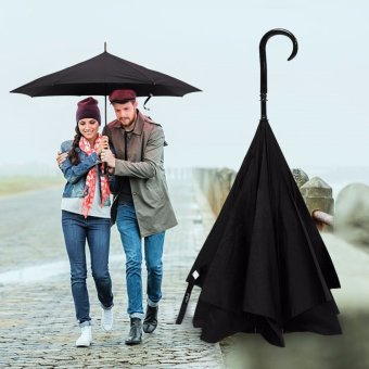 New Product Double Layer Umbrella Rain Women Man Unisex Innovation Graphic Windproof Sports Long-handle Umbrella Car Umbrella Black - intl