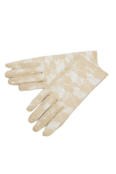 Fancyqube Women Lace Gloves Wedding Ritual Performances Gloves Beige
