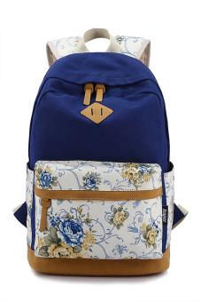 Flower Printed Multi-purpose Canvas Schoolbag School Outdoor Travel Backpack Tablet Laptop Carry Bag for Girls Student Royal Blue - intl