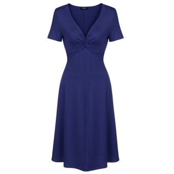 Cyber Zeagoo V-Neck Short Sleeve Empire Waist Knee Length A-Line Skater Dress (Dark Blue) - Intl - Intl