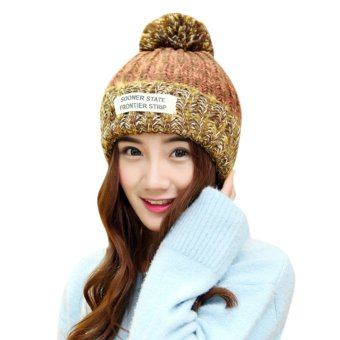 Women Crochet Knit Winter Warm Beanie Wool Peaked Hat Mix Color Cap Orange (Intl)