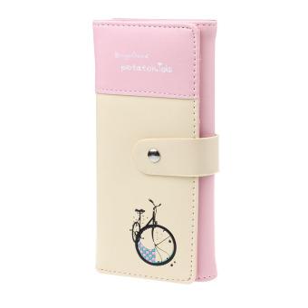 Women Clutch Card Holder Money Clip Change Wallet (Pink)