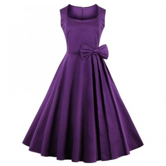Print Square-cut Collar Dress Woman Big Hem Sleevless Dress With Bowknot(Purple) - Intl--TC