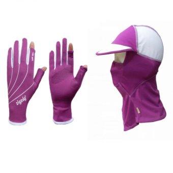 zigzag COGM03- Bộ gồm nón khẩu trang và găng tay easy-touch chống nắng UPF50+ (Hồng tím)
