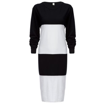 Ladies Polyester Spliced Round Neck Striped Knit Dress (White) - intl