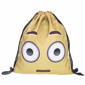 Fashion Unisex Emoji Backpacks 3D Printing Bags Drawstring Backpack White - intl