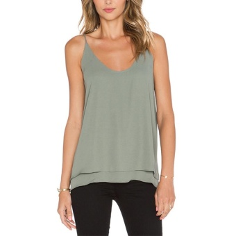 Moonar Summer Fashion Ladies Two Layers Chiffon Round Neck Vest (Moss Green) - intl
