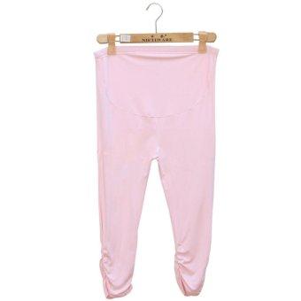Summer Maternity Pants Adjustable Capri Leggings Pregnant Women Clothes Comfortable Leggings (Pink) - intl