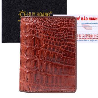 HL2255 - Bóp nam Huy Hoàng da cá sấu kiểu đứng gai lưng màu nâu đỏ