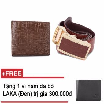Bộ ví và thắt lưng nam da bò thật LAKA nâu cá ấu + Tặng 01 ví nam da bò LAKA (Đen trơn) trị giá 300.000đ