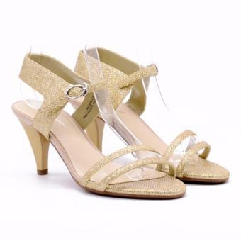 Giày Sandal cao gót 6cm EVA68596 vàng nhũ