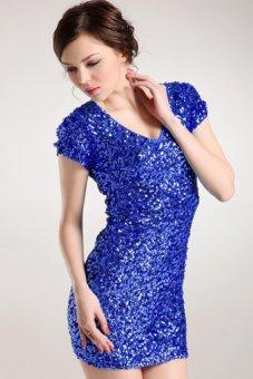 Sunweb Fashion Sequins Women Short Sleeve Mini Dress Ladies V-Neck Casual Clothing ( Blue ) - intl