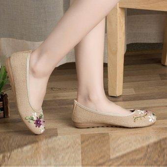 Giày bầu búp bê lót cói, đính hoa, đế cao su STT-GN2347 (EU: 35-39)