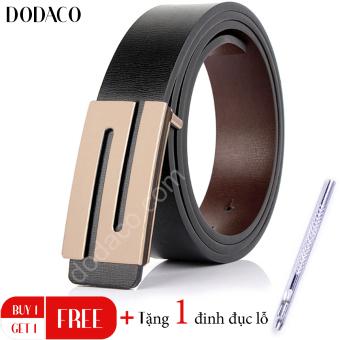Thắt lưng da nam hai mặt cao cấp DODACO DDC10 (Đen vàng)