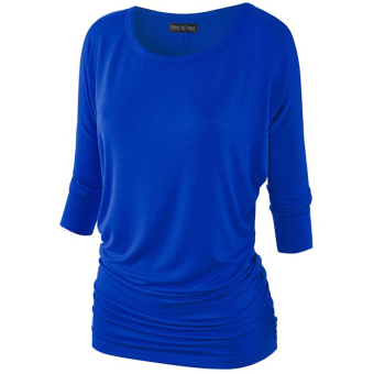 Fancyqube Seven Sleeve T-Shirts Pullover O-Neck T Shirt Blue