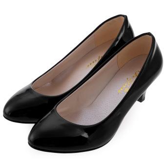 Elegant Ladies Shallow Mouth Low Heel Sandals Shoes(Black) - intl
