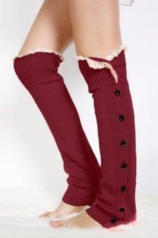 Cyber Womens Knee High Knit Flat Button Crochet Lace Trim Leg Warmers Boot Socks (Red)