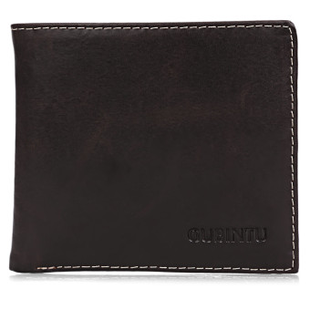GUBINTU Men Soft Wallet Thread Letter Leather Open Horizontal Solid Color (Deep Brown) - Intl --TC