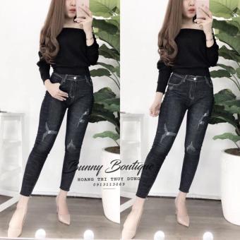 Áo thun tay dài lệch vai siêu hót AT95 (đen)