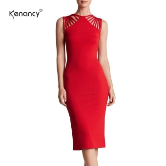 Kenancy Wemans Elegant Statement-Making Straps Jewel Neck Sleeveless Stretchy Knee Length Cocktail Party Evening Casual Work Pencil Dress - intl