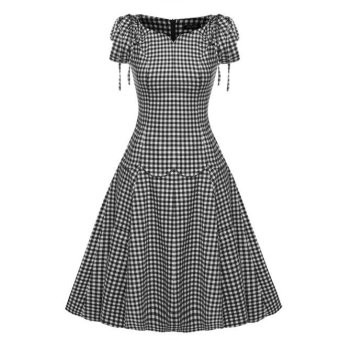 Cyber ACEVOG 1950s Retro Vintage Style Short Sleeve Party Swing Midi Dress (Black) - Intl - Intl