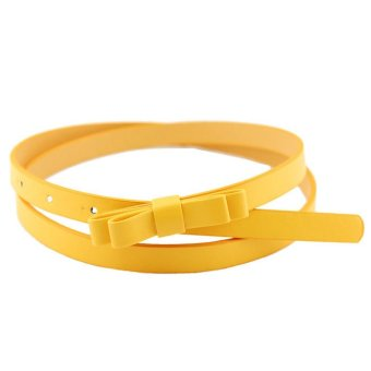 New Fashion Dow Candy Thin Women Pu Leather Casual Belt Cummerbund For Girl Yellow