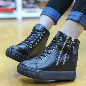 Giày Sneaker Nâng Đế Cao Cổ 2 Khóa (đen)