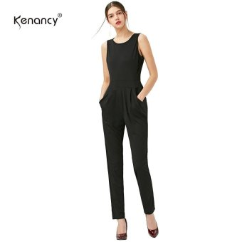 Kenancy Casual Jumpsuit Solid Color Sleeveless Backless Women Romper Slim Jumpsuit(Black) - intl