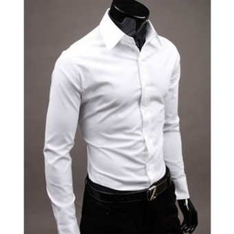 Moonar Fashion Pure Color Style Slim Shirt Men Casual/Fornak Style Long-Sleeve Shirt M-XL (White) - intl