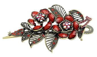 niceEshop Charm Rose Flowers With Leaves Alligator Hair Clip,Antique Bronze and Red - intl