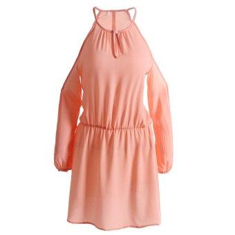 Fancyqube Long Sleeved Chiffon Camisole Dress Pink - intl