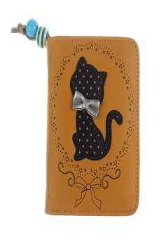 HKS Printing Odd Tail Cat Purse Short Wallet (Yellow) - intl