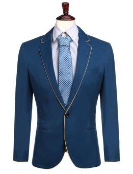 Linemart New Men Casual Mandarin Collar Slim Fit Long Sleeve Solid Jacket Blazer ( Dark Blue ) - intl