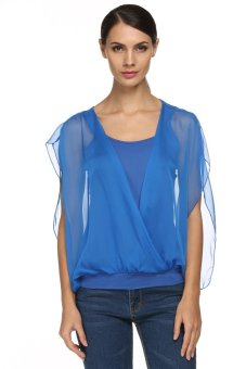 Cyber FINEJO Women Ladies See Through Chiffon Loose Shirt Top ( Blue ) - Intl