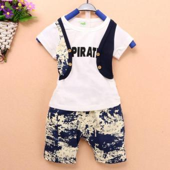 Sunweb Kids Boy Two Pieces False Two-pieces Vest T-Shirt Tank Top and Pants Set (Blue) - intl
