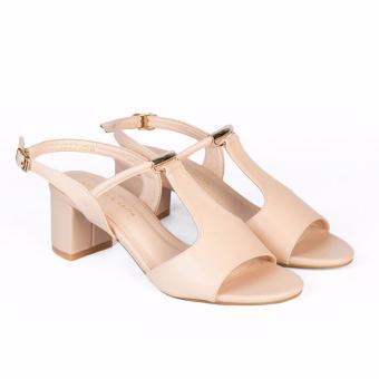Giày Sandal nữ gót vuông cao 5cm HC1308 (Kem)